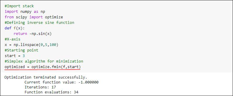 SciPy optimize fmin example