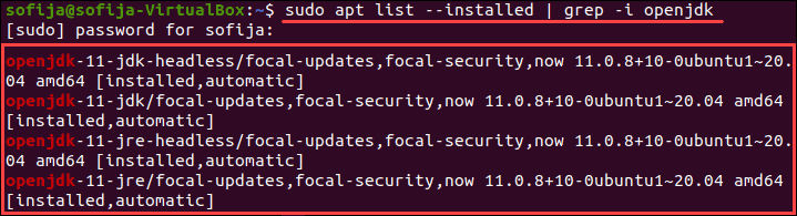 Search for Java in the Installed packages list on Ubuntu.