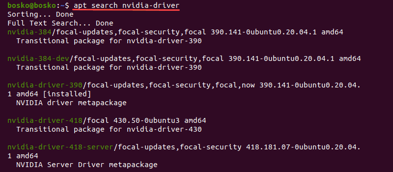 Search for available Nvidia drivers using the terminal in Ubuntu 20.04.