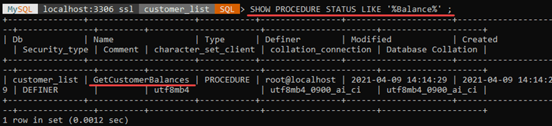 Search for stored procedures using a keyword.