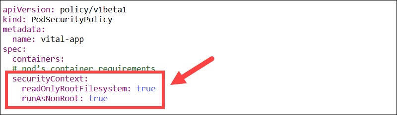 Define container security context in Kubernetes. Non-root user and read-only Filesystem.