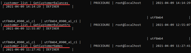 See all stored procedures currently on the server.
