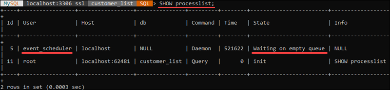 Check event scheduler state in MySQL shell.