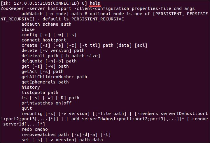 List ZooKeeper commands.