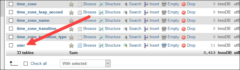 Select a database that contains the tables for the csv files.