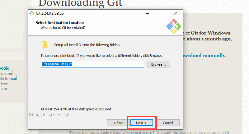 Select the location for the Git installation on windows