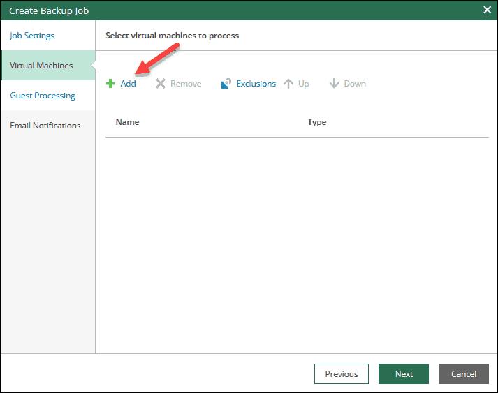 veeam self-service portal interface add vm or vapp