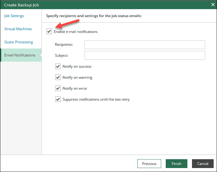 veeam self-service portal interface set email notifications