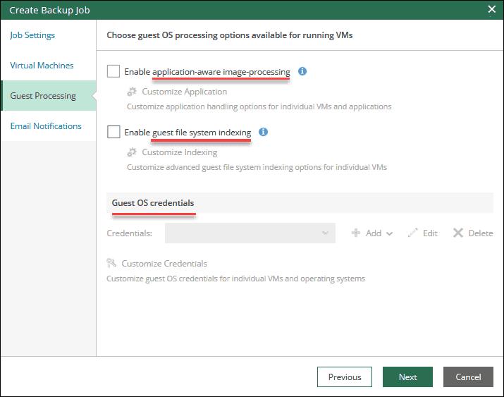 veeam self-service portal interface guest processing step