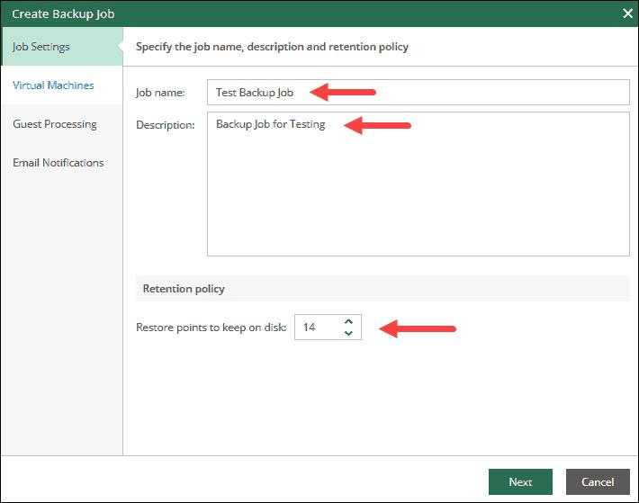 veeam self-service portal interface job description step
