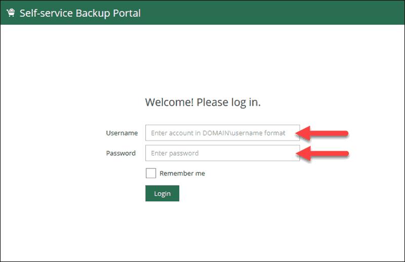 veeam self-service portal login page