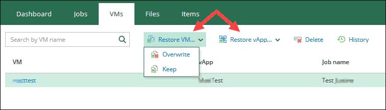 veeam self-service portal interface restore vm or vapp