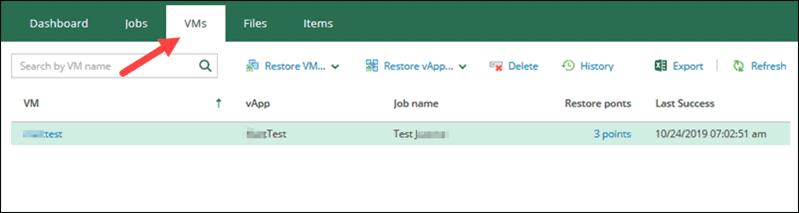 veeam self-service portal interface VMs section