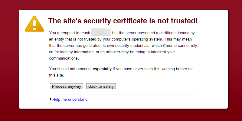A browser displaying a warning about a self-signed certificate.