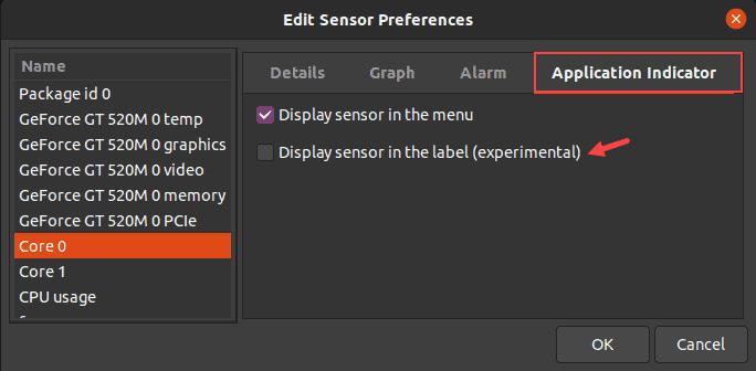 Display sensor output in the top label in Ubuntu.