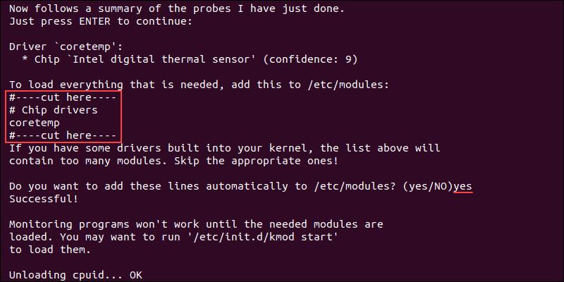 Output showing a summary of sensors detected on Ubuntu.
