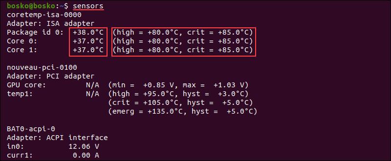 Sensors command output on Linux Ubuntu.