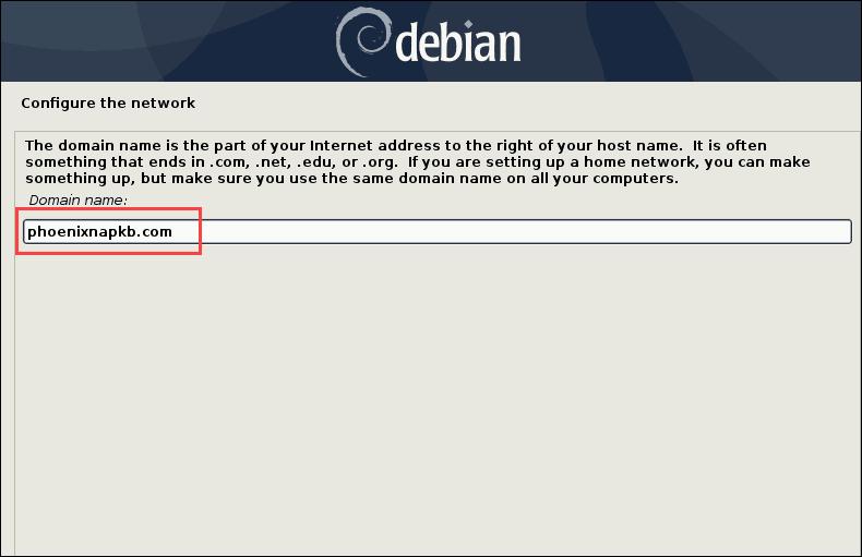 inputing the domain name