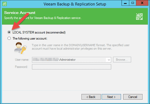 set local system account in veeam