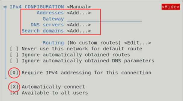 Set a static IP address using GUI.