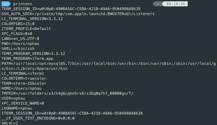 Listing all nevironmental variables using the printenv command