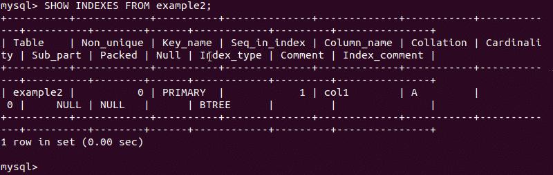 Displaying a single entry MySQL index