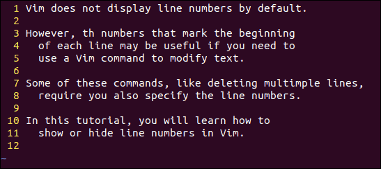 Showing line number in Vim text editor in linux