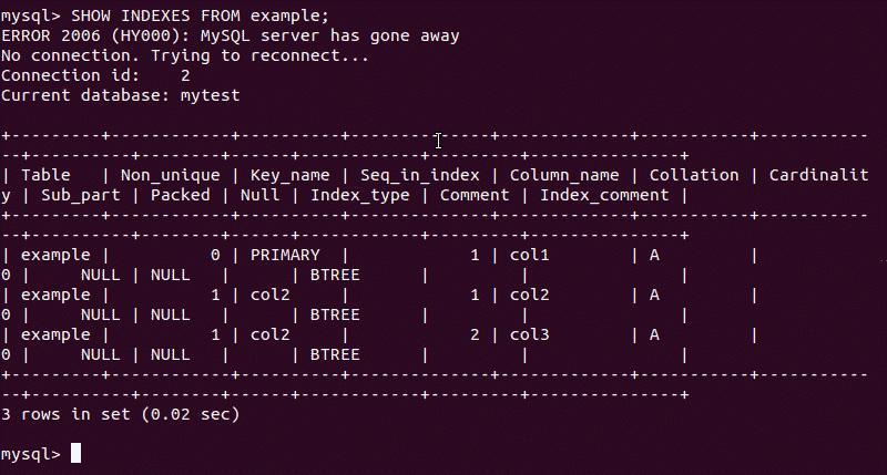 MySQL output that displays a MySQL index
