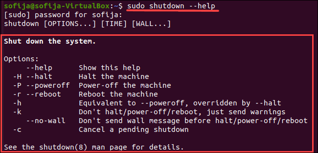 List shutdown command with all parameters.