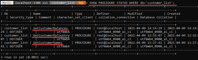 Show stored procedures for a single database.