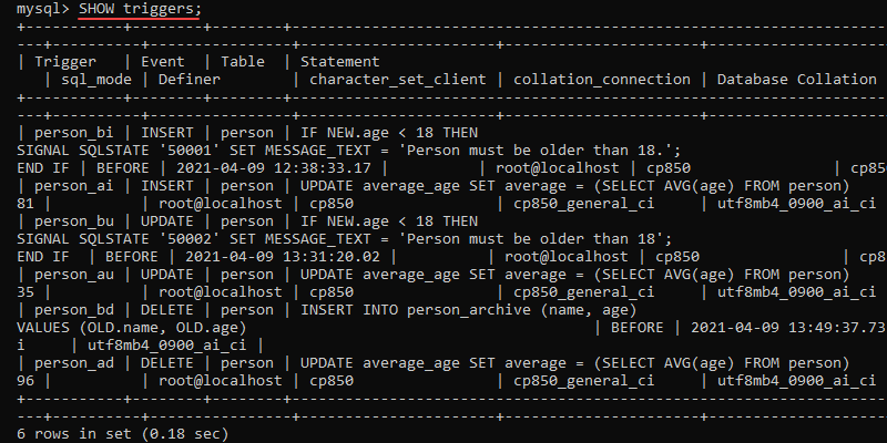 Output of show triggers