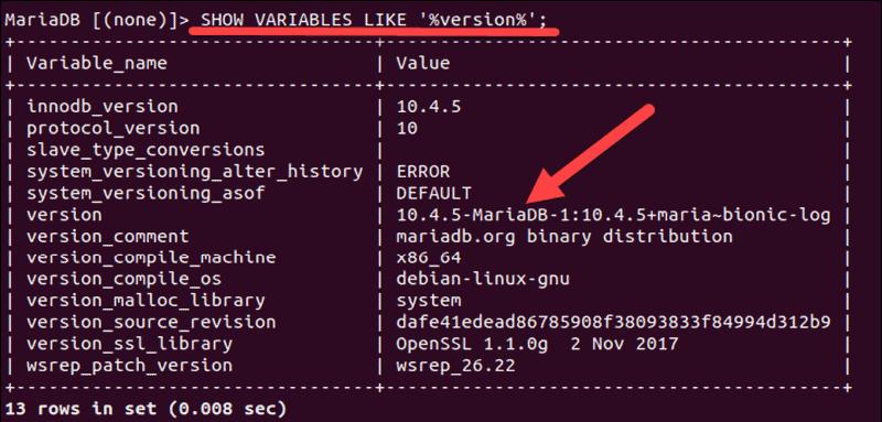 Determine version from within MySQL client.