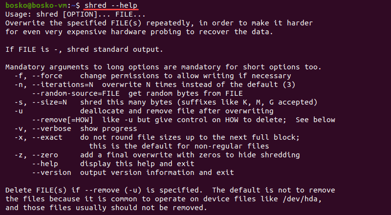 Shred command manual in Linux.