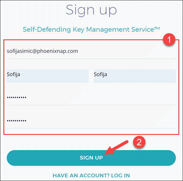 Sign up for a new phoenixNAP EMP account.