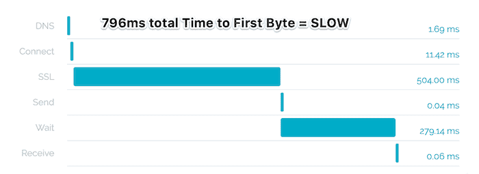 chart showing elements of a slow loading website ttfb