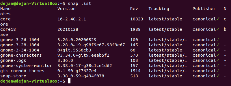 The command to list snap packages.