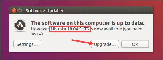 Software updater showing Ubuntu 18.04 is available.