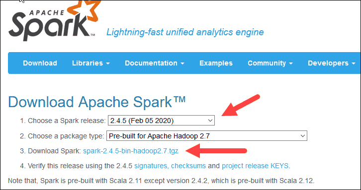 Apache Spark download page.