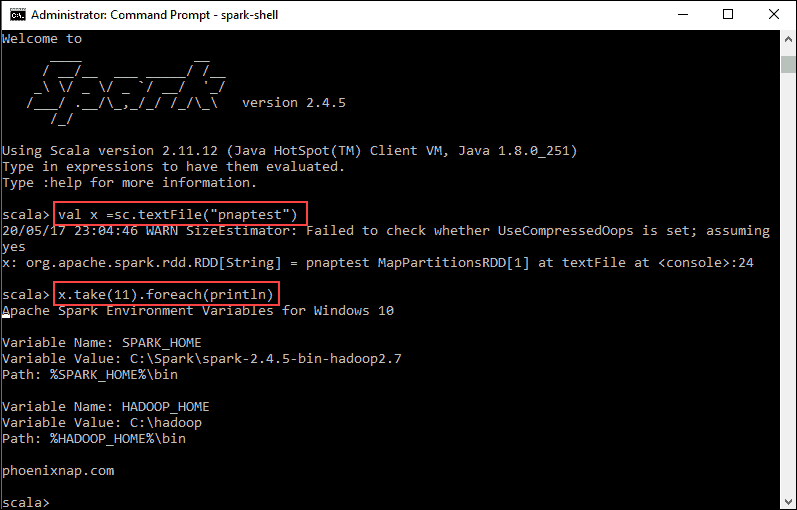 Spark Scala test action with reading a file.