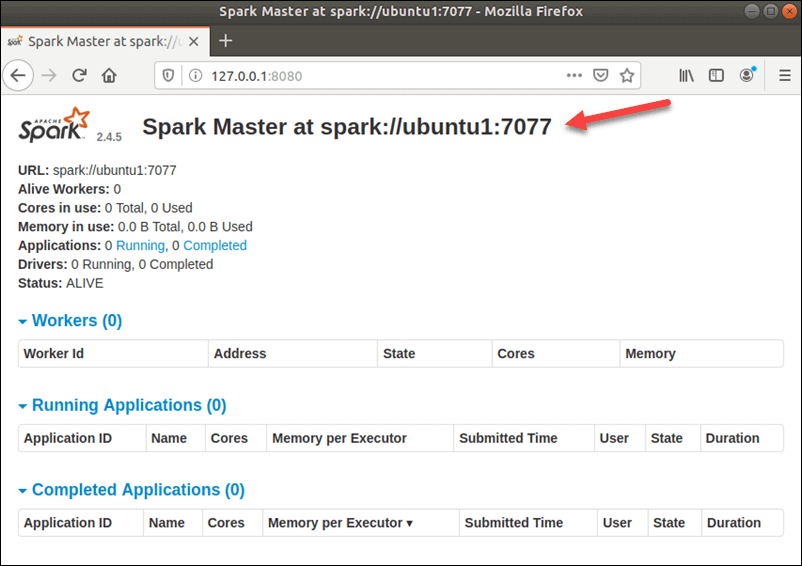 The home page of the Spark Web UI.