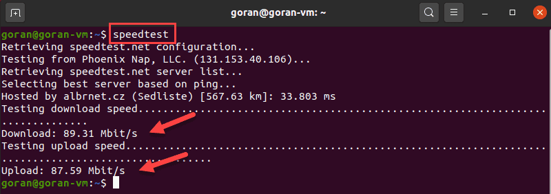 Run speedtest on Linux.