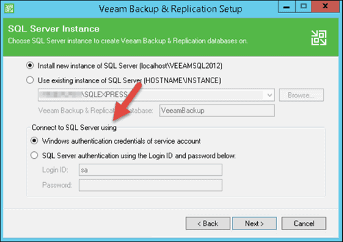 veeam backup and replication select sql server authentication