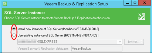 veeam backup and replication create sql server instance