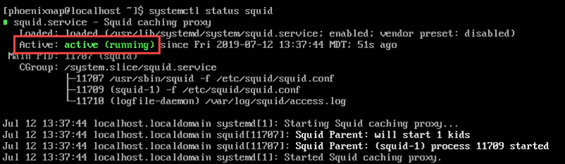 squid is active and running on CentOS