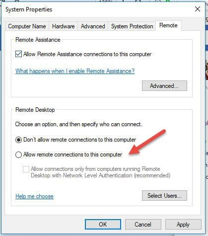 system properties remote connections tab