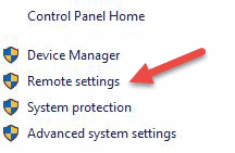 windows control panel remote settings link