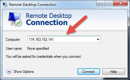 remote desktop connection in windows input ip