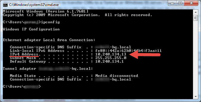 find a computer's IPv4 address command prompt