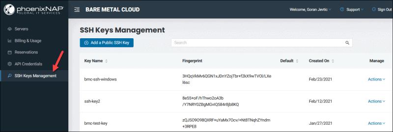 BMC portal SSH Keys Management page