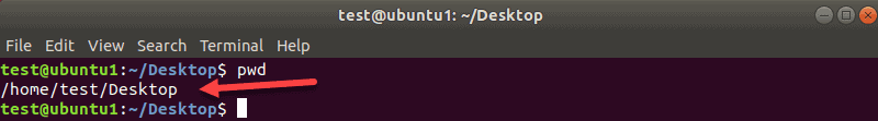 example of a working directory ssh command terminal